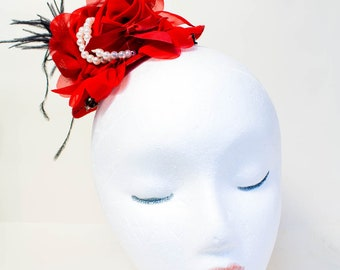 Hair Clip, Mini Top Hat, Fascinator, Prom, Mad Hatter, Tea Party, Cake Smash, Photo Prop, Red Hat
