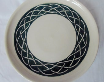 Celtic Design Plate White and Black 9 inch - New, signed and dated Pottery