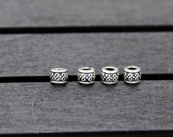 10pcs-4x5mm Sterling Silver Bead,Sterling Silver Spacer Bead,round spacer bead, Silver spacer, Sterling silver beads spacer
