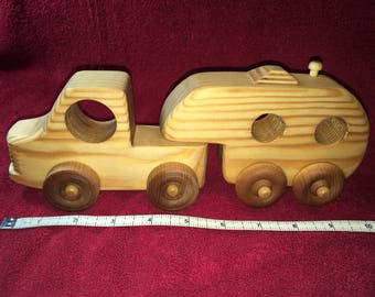 Handcrafted wooden truck and camper set - 10 1/2 inches