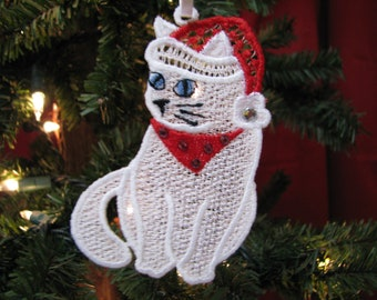 Santa Kitty Ornament