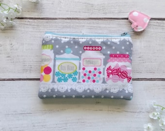 Candy shop zipper pouch, credit card wallet, makeup bag, pencil pouch, eco friendly choose your size