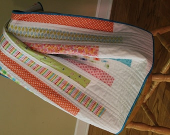 Modern Baby Quilt with stripes