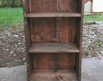 Dark Walnut Stain Reclaimed Rustic Wood Book Shelf Bookcase Bathroom Hall Entry Kitchen Storage Display 8wx16.25lx31h Custom Sizes Colors