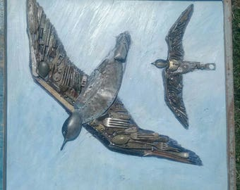 Seabirds - collage using Thames mudlarking finds /found objects