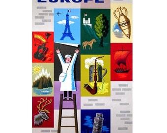 EUROPE 1-Handmade Leather Postcard / Note Card / Fridge Magnet - Travel Art