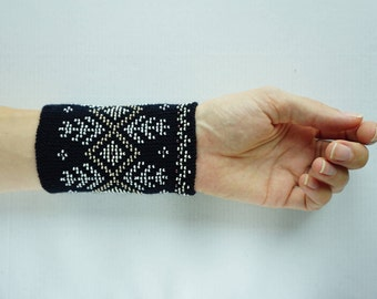 Dark navy and white beaded wrist warmers/ knitted wristlets with beads / woollen cuffs – ready to ship