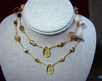 Knotted Bead Necklace or Bracelet