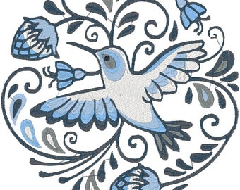 6x6 and 8x8 Hoop Round Hummingbird Machine Embroidery Designs. Pes, Jef, Dst, Vp3, Exp formats.
