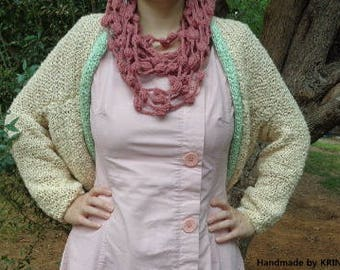 Peach Romantic Warm Necklace Crochet Necklace with Round Details