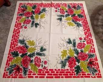 Vintage--Winter--Tablecloth--Bricks And Chrysanthemums--