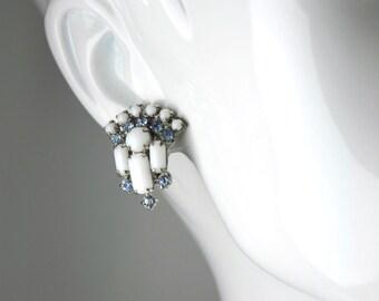 Vintage Light Blue White Bridal Rhinestone Clip Earrings