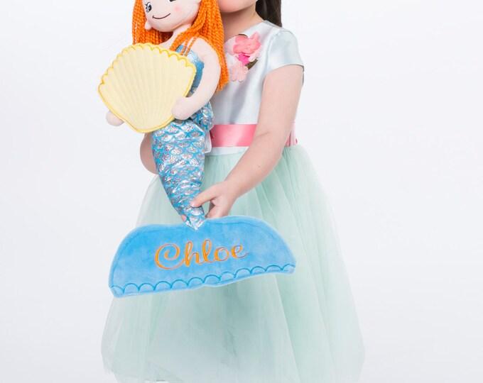 Featured listing image: Mermaid Plush Rag Doll - Monogrammed Mermaid Doll - the little Mermaid - choose your monogram design