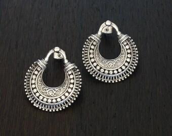 Silver Stud Earrings, Sterling Silver Earrings, Intricate Silver Earrings, Silver Filigree, Post Earrings, Statement Earrings, 925