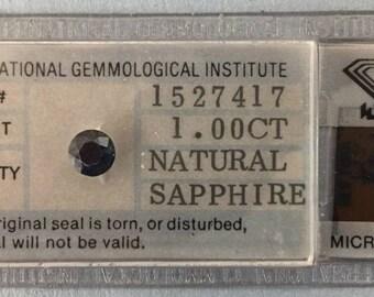 1.00 carat Natural Medium Blue Sapphire Round International Gemological Institute IGI CERTIFIED SEALED Gemstone #D213