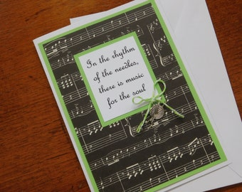 Knitting Greeting Card with skein of yarn and knitting needles silver charm