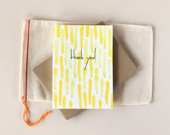 Yellow Thank You: Watercolor Notecard Set