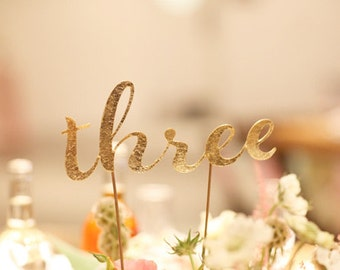Glitter Table numbers 1-12 in glittered card stock