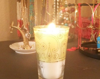 Moroccan Glass Soy Candle, Citrus Basil