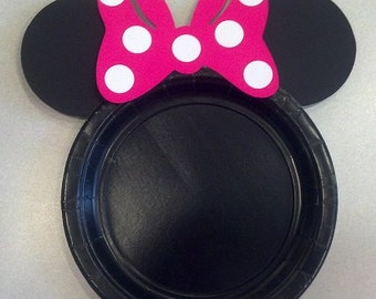 Minnie Mouse Birthday Party Cake Plates hot pink bow set of 12