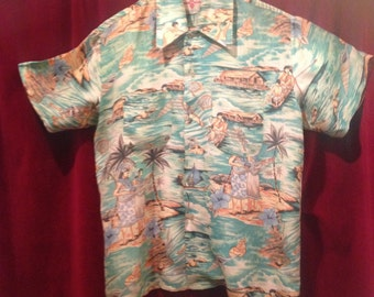 Vintage 1950's FANTASTIC Rayon  Hawaiian Shirt  / 2 Front pockets / M  /Hawaiian Holidays.
