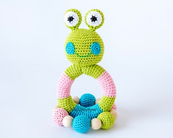Crochet baby toy SET of 2 Grasping and Teething Toys Frog Stuffed toys Gift for baby Girls Boys