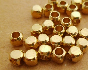 150pcs 3mm Small Yellow Raw Brass Cube Faceted Beads for Layering Bracelets Necklaces Or Chokers 0101-0414