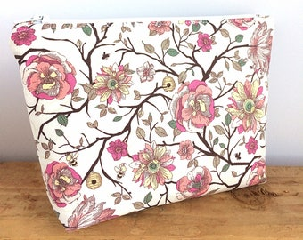 Floral Makeup Bag - Mothers Day Gift - Pink Cosmetic Bag - Floral Cosmetic Bag - Pretty Makeup Bag - Gift for Her - Floral Pouch