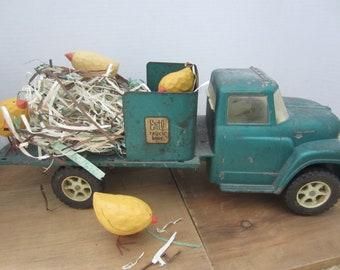 Vintage Rustic Ertyl Truck/ Rustic Truck/ Rustic Decor/ Metal Green Truck/ Farmhouse Decor/ Christmas Farmhouse Decor/ Rustic Easter Decor