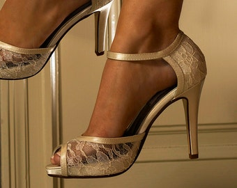 """Wedding Shoes - Wedding Lace Shoes- 3 1/2"""" Heels- Peep Toe Wedding Shoes, Womens Wedding Shoes - D'Orsay Bridal Shoes, Custom Dyed Colors"""