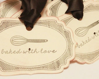 Baked with Love Food Label Tags (Double Layered) - Vintage Food Label Tags Baked Goods Gift Tags Food Tags Whisk Gift Tags - Set of 8