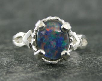 Black Opal Ring, Australian Black Opal Ring, Sterling Silver, Opal Gemstone Ring, R Armstrong Design, October Birthstone Ring Under 100