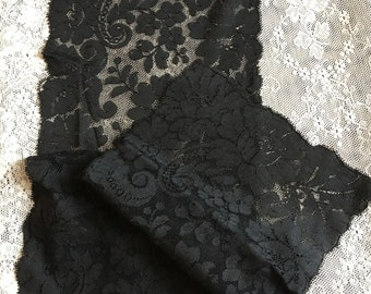 Victorian Mourning Veil Vintage BLACK Beautiful Net Lace VEIL. Exquisite LACE Veil for Mourning or Other Dressy Occasions