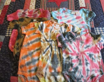 Handmade Lot of Hand Tie Dyed Baby Infant Onesies 0-3 Month 6 to 9 Month and9 Month