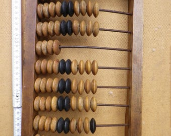 Vintage Soviet USSR Wooden  Counting School Abacus Calculator / 1940s