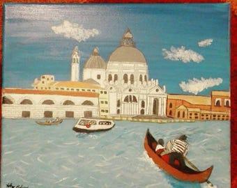 Venice Canal Acrylic Painting
