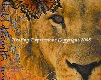 GRACE MERCY ATC Print altered art collage therapy recovery christian lion butterfly inspirational card