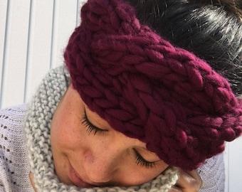 Handmade plum headband 100% wool to keep you warm
