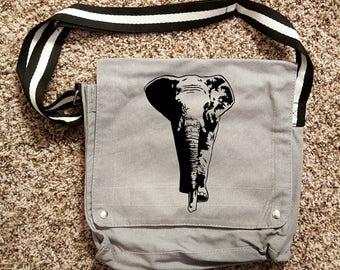 African Elephant Canvas Shoulder Bag Messenger Bag