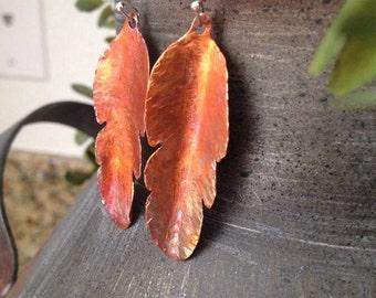 Organic Copper Leaf Earrings
