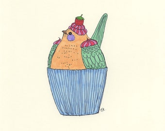 Cute bird cupcake drawing