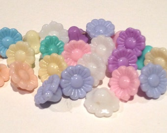 30 cute plastic candy pastel blossom flower shaped beads