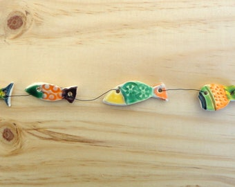 ornamental Garland 5 multicolored small fish - marine decoration - Navy-arts crafts-gift-ceramic decoration
