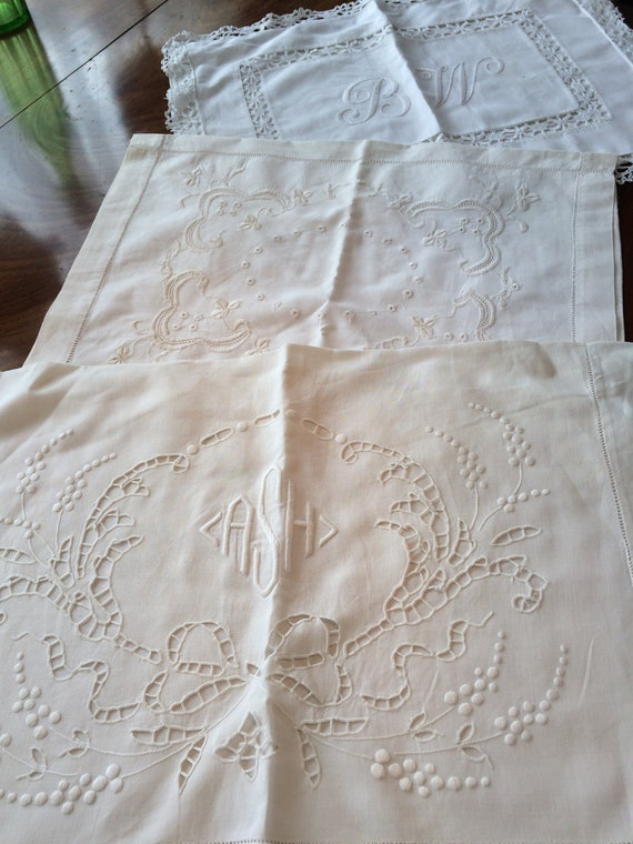 3x edwardian embroidered nightdress cases.. Or pillow/cushion civets. All approx 22x15 ins