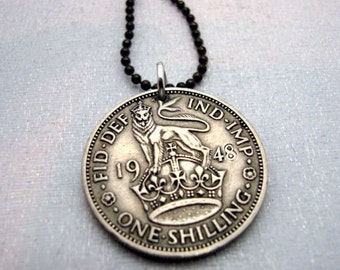 Silver Lion necklace - Antique SILVER BRITISH SHILLING coin necklace - lion on crown - English crest - leo necklace - silver coin pendant