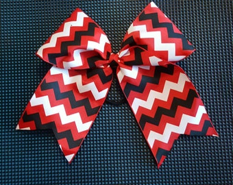 Red Black and White Chevron Bow