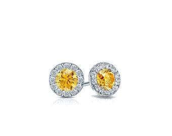 14k Gold Halo Round Yellow Diamond Stud Earrings 0.50 ct. tw. (Yellow, SI1-SI2)