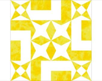 Summer gravatar paper pieced block PDF quilt pattern
