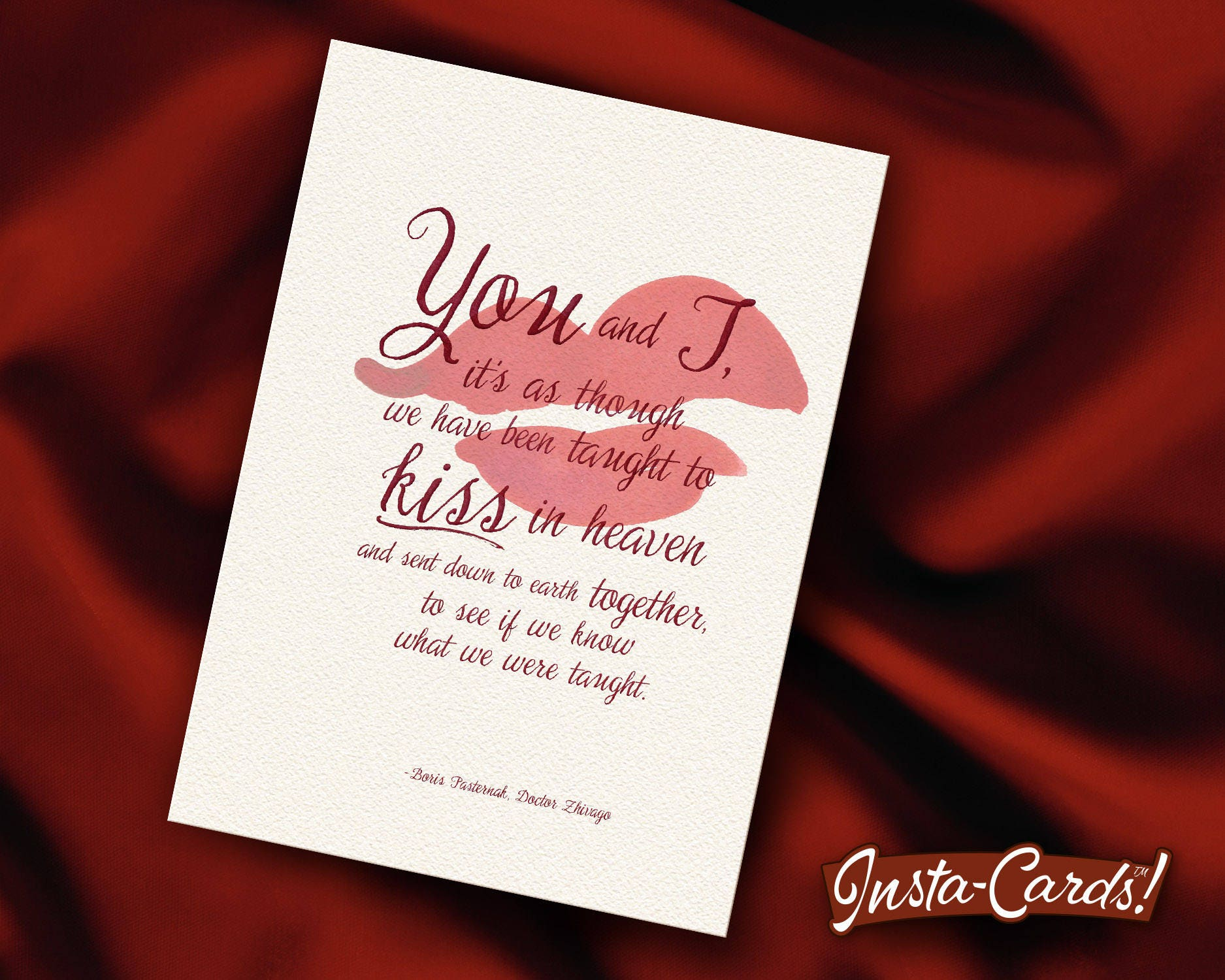 Insta-Card Printable Love Card Taught to Kiss