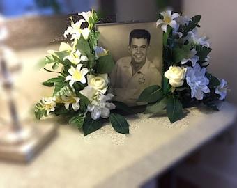 Floral tribute arrangement photo frame